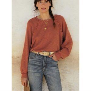Anthropologie Pilcro Diana Pullover Top Shirt Medium Orange New